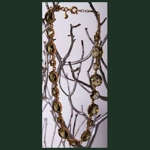 Gold Plated Crystal Green Statement Necklace